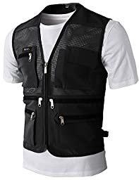 H2H Mens Casual Work Utility Hunting Travels Sports Mesh Vest With Pockets BLACK US XL/Asia 2XL (KMOV087)