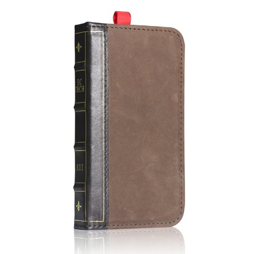 Best Price EC TECHNOLOGY® 5 in 1 Genuine Handmade Retro Leather Wallet Case For Iphone 4 Iphone 4S