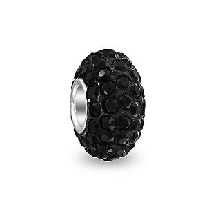 Bling Jewelry Sterling Silver Black Swarovski Crystal Bead Pandora Compatible