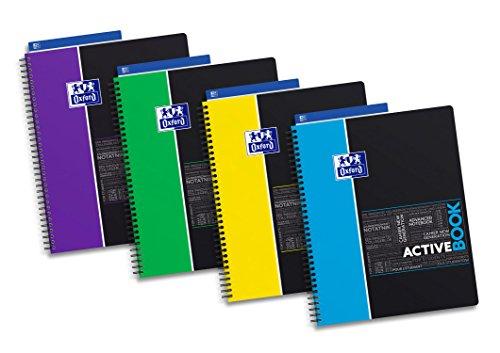 Oxford 400019524studiare Organiser ricambio;-Block notes A4+ con elastico, a quadretti, 80fogli, coperchio in PP, microperforazione; 4fori.; Confezione da 5con 4colori assortiti active book kariert 4 colori assortiti