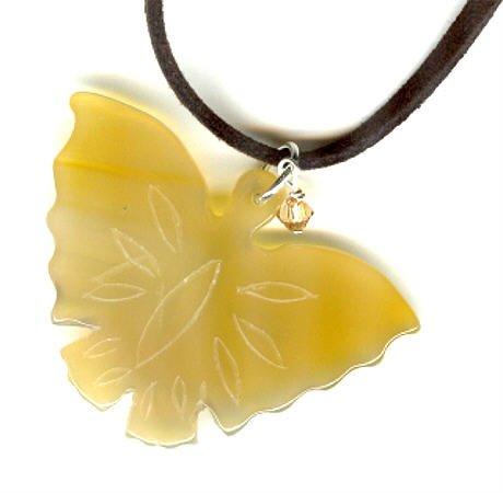 Stone Butterfly Pendant Necklace by SilverChicks