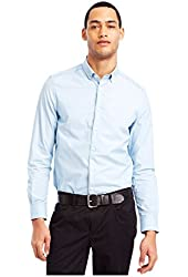 Kenneth Cole Mens Super Slim Stripe Button Up Shirt