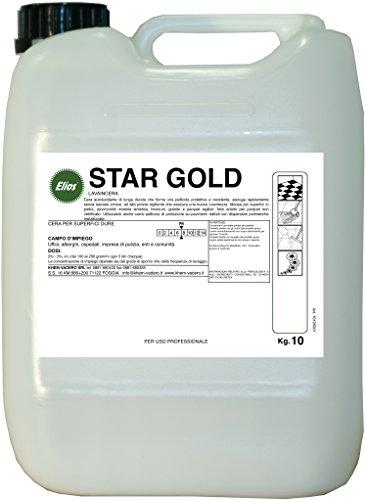 Elios - STAR GOLD cera autolucidante di lunga durata che forma una pellicola protettiva e resistente, asciuga rapidamente senza lasciare strisce, ad alto potere sigillante che assicura una buona lucentezza. Idonea per superfici in pietra, pavimentidi materia sintetica, linoleum, granito e parquet sigillati kg.10 - tanica kg.10