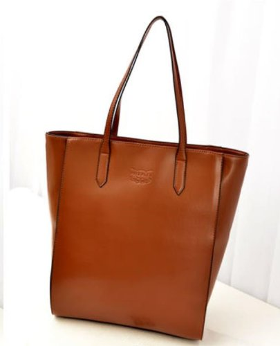 Big Mango Big Capacity Fashion Faux Leather Shoulder Bag Shopper Hobo Tote Large Handbag With Inner Pockets For Women - Brown