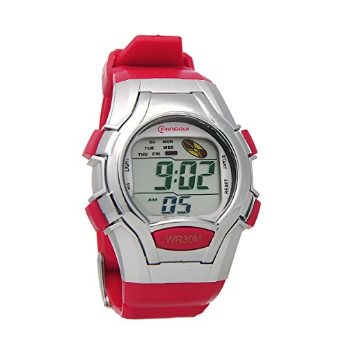 8Years - 1 Kinder Digital Armbanduhr Stoppuhr Wasserdicht Rot