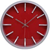 Kiera Grace Watch Wall Clock, 12-Inch, 2-Inch Deep, Silver with Red Dial