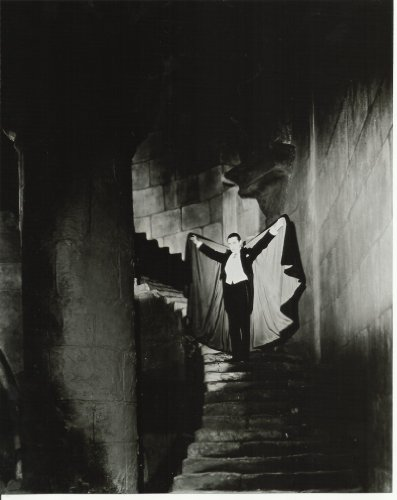 bela-lugosi-as-dracula-8x10-photo-on-stairs-holding-cape-up