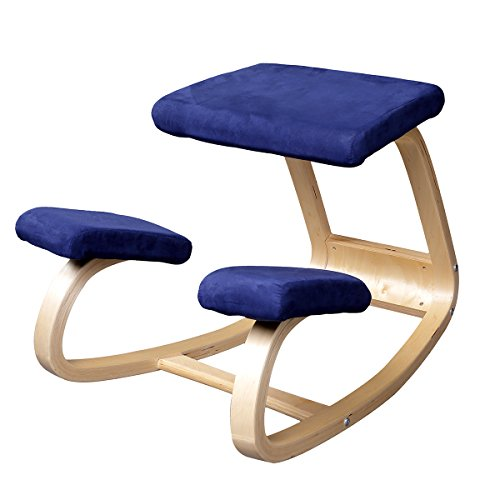 Emall Life Ergonomic Kneeling Chair Balancing Body Back Pain Wooden Chair Bentwood Comfortable, Blue/Red/Green/Black (Blue)