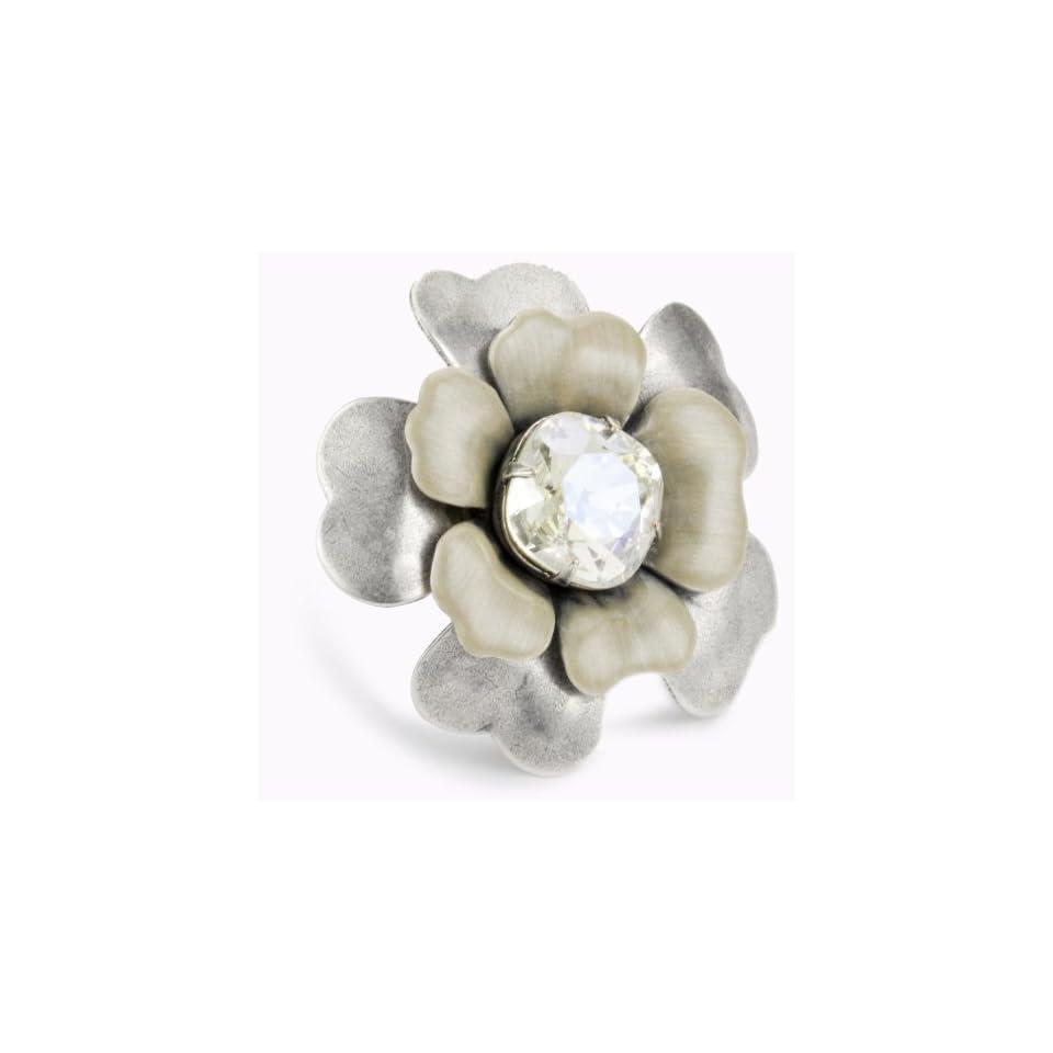 Liz Palacios Silver Blossom Crystal and Enamel Flower Ring