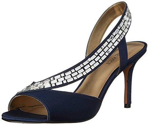 Nine West Women's Giulia Satin Heeled Sandal, Navy, 7 M US
