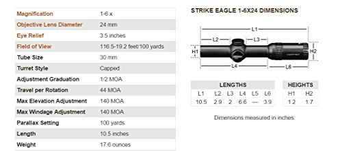 Vortex Optics Strike Eagle 1-6 x 24 AR-BDC Reticle