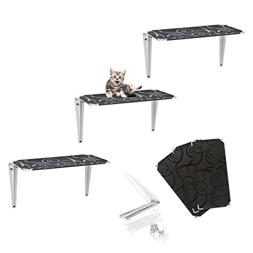 RayCC Cat Shelves Cat Tree Cat Wall Shelves for Climbing,Sleeping,and Exercising(Set of 3,Small)