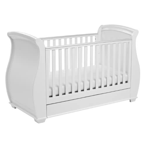Babymore Bel Sleigh Cot Bed Dropside With Drawer (White Finish) + FOAM MATTRESS