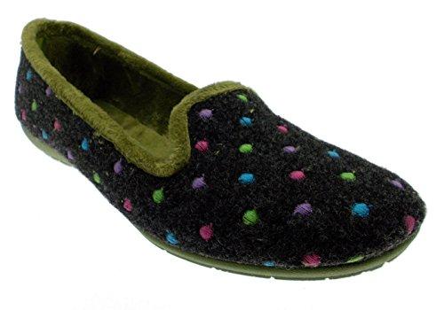 pantofola panno feltro grigio verde pois 35 verde