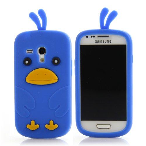 Handy Lux® Schutz Hülle für Samsung Galaxy S3 mini i8190 / i8200 / VE TPU Silikon Case Etui Cover Involto Motiv Design Chicken Blau