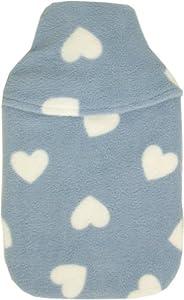Vagabond - Bolsa de agua caliente con funda (2 L), diseño de corazones, color azul