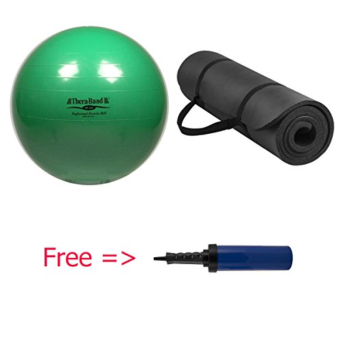 Exercise and Stability Ball PLUS Extra Thick High Density Exercise Yoga Mat Free AIR PUMP (Ecoplus Commercial Air compare prices)