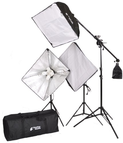 Cowboystudio 2000 Watt Digital Video Lighting Kit With Boom For Video And Digital Photography (Vl-9004S-B6)