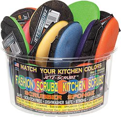 The Original Magic fasionable Kitchen Jetz Scrubz J22AST Scrubber - Sponge, Round, (Red sponge)