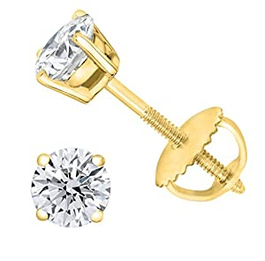 PARIKHS Near Colorless Round Diamond stud Promo Quality in Screw Back 14K Yellow Gold (0.04 ctw) (Color-HIJ, Clarity-I3)