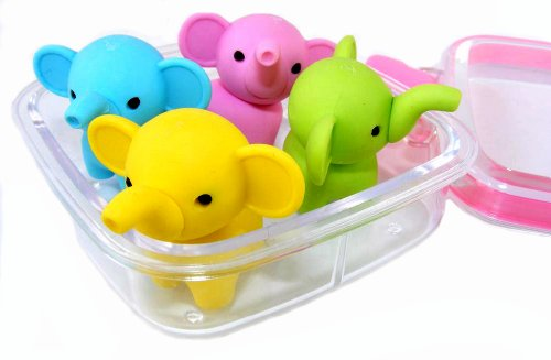Iwako Japanese Erasers In A Mini Bento Box -Elephants