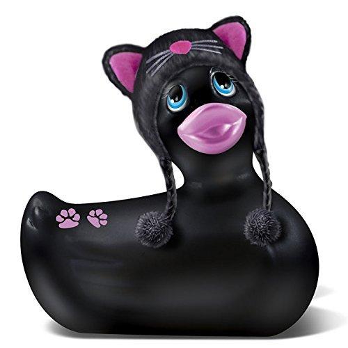 Adorable-petit-canard-vibrant-noir-avec-bonnet-de-chat