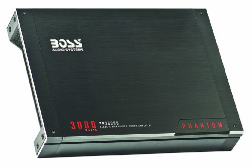Boss Audio Ph3000D Phantom 3000-Watts Monoblock Class D 1 Channel 1 Ohm Stable Amplifier With Remote Subwoofer Level Control