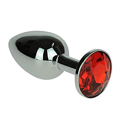SILVER ANAL PLUG REAL RED RHINESTONE DIAMOND - erotic Butt plugs resp.. Dildos for SM, BDSM and Sex Games for Men and Women