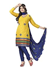 PShopee Yellow & Blue Jacquard Cotton Embroidery Unstitched Dress Material
