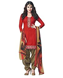 Desi By Design Women's Cotton Unstitched Dress Material (Jasmine-2003_Red_Free Size)