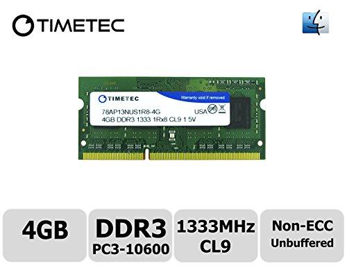 Timetec® Team 4GB DDR3 (PC3-10600) 1333MHz Non-ECC, Unbuffered, CL9, 1Rx8, 1.5V, SODIMM, 204-pin Single Rank Laptop/Notebook Memory Module Upgrade For Apple iMac, Mac mini, MacBook Pro - (4GB) (Mac Memory Module compare prices)