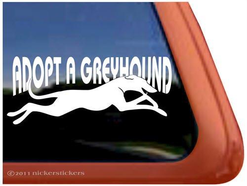Adopt A Greyhound Rescue Dog Vinyl Window Decal Sticker front-385138
