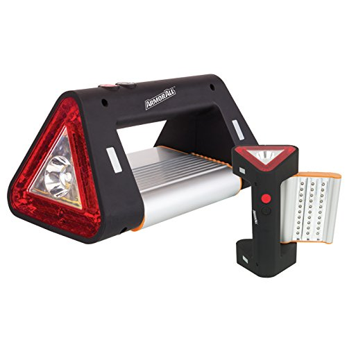 Armor All Triangle Car Emergency Light, Roadside Safety - Floodlight, Spotlight, Flashing Beacon, Magnetic, Multifunction