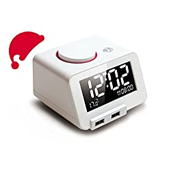 Homtime C1Pro Alarm Clock Bluetooth Speaker with Dual Port USB Charging Station Phone Charger Home Dimmable Alarm Clocks for iPhone 5/5s, iPhone 6/6+, iPad, iPad mini, smart phones, & tablets (White)