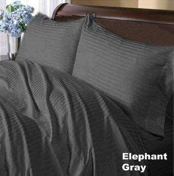 400 Thread Count Egyptian Cotton Stripe Elephant Grey Queen Attached Waterbed Sheet front-751805