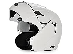 Vega Boolean Flip-up Helmet with Double Visor (White, M)