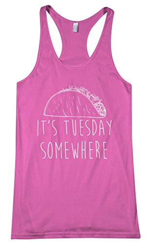 Threadrock Women's It's Tuesday Somewhere Racerback Tank Top M Hot Pink (Pink Taco Shells compare prices)