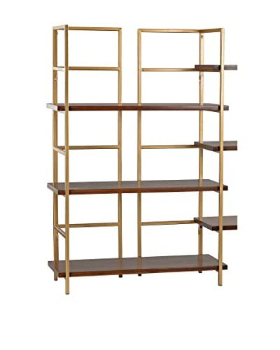 Artistic Balart Mid Century Shelf Unit, Walnut/Gold