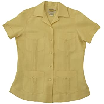 Women's Yellow-Pleated Guayabera