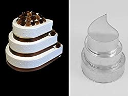 4 TIER TEAR DROP MULTILAYER BIRTHDAY WEDDING ANNIVERSARY CAKE PANS / TINS 6