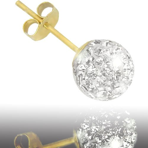 Jewelco London 9ct Gold Clear sparkling Crystal set 10mm Disco Ball Studs
