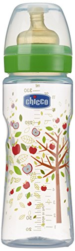 Chicco 707700 Benessere Biberon, Flusso Veloce, Caucciù, Bianco/Verde, 330 ml
