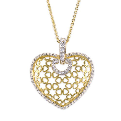 C.Z. Puffed Heart Vermeil Plated (.925) S/S Pendant (Nice Holiday Gift, Special Black Firday Sale)