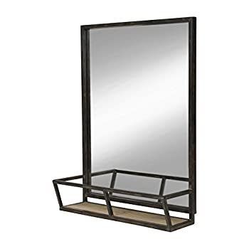 Kate and Laurel Jackson 22x29 Distressed Metal Mirror with Wood Shelf, Black