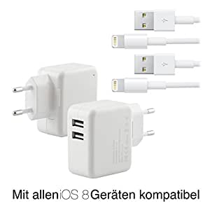 Original iProtect® Set USB Ladegerät u 2x Datenkabel weiß - 2000mA einsetzbar als Netzteil Ladekabel Ladeadapter 2,0A für iPhone 5 5s 5c iPod Touch 5G Nano 7G