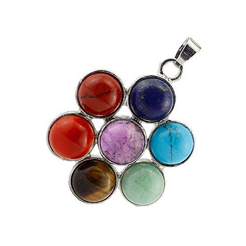 Contever 7 Chakra Pietra Pendente Reiki Guarigione Equilibratura inserto in lega Perline Pietra Preziosa Cristallo Naturale Ciondolo -- Fiore Rotondo