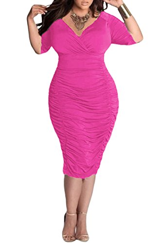 Pink Queen Womens Plus Size Deep V Neck Wrap Ruched Waisted Bodycon Dress XL Azalea Pink