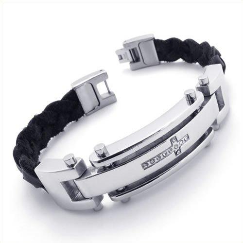 Konov Jewellery Men's Leather Stainless Steel Cross Bracelet, Colour Black Silver, Length 8 2/3 inch (with Gift Bag)