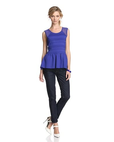 Jaye.e Women's Peplum Top with Mesh  - Purple/Blue