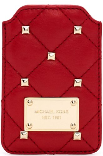 Michael Kors Stud Quilted Iphone Phone Blackberry Pouch Case Sleeve New With Tag Black Red Genuine Leather